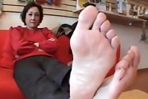 large ticklish aged feet