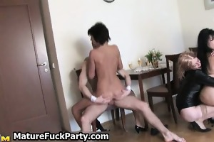 excited corpulent older housewife sharing big