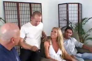 blond mother i babe gives a oral job whilst males