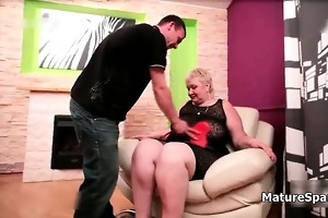 bulky golden-haired aged wife acquires spanked