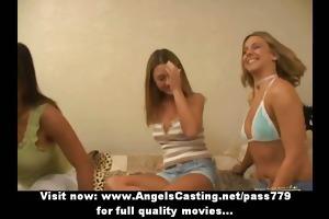 hawt lesbo schoolgirls having trio licking and