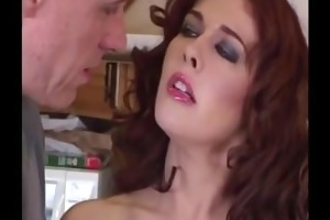 outstanding redhead mother i receives large rod