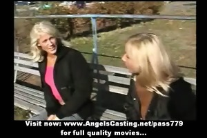 amazingly hot golden-haired lesbos undressing and