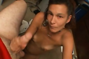 poor and rubbish mommy sucks a big plump penis