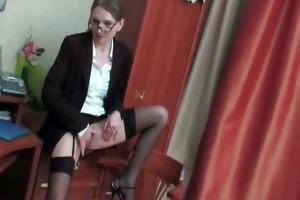lascivious aged secretary acquires sexy twat