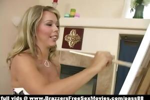 super hot blond sweetheart paintes a pecker
