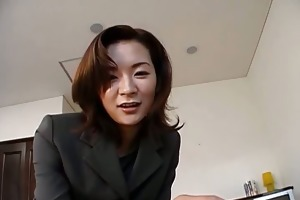 charming japanese mother i in an office costume