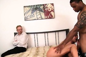 golden-haired wife humiliates spouse with