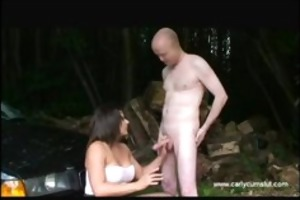 dogging carly cum whore receives filled with ball