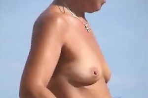 aged breasts tanning