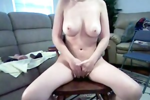 wife with appealing breast rides massive dildo