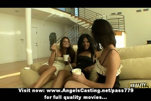lesbo trio with brunette hair angels undressing