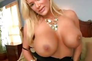 enormous chested blond momma in dark underware