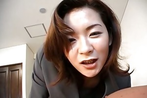 beautiful japanese mother i in an office dress