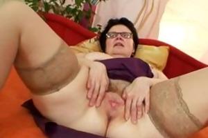 old grandma with glasses fingering bushy cum-hole