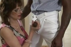 aged lady sonia acquires interracial