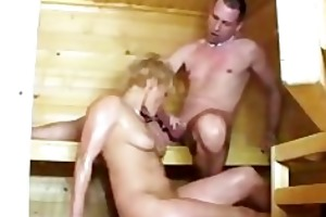 sauna sex with sexually excited aged hotties