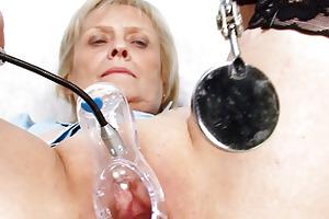 blond granny nurse self exam with cum-hole