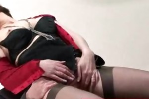 aged lady in stocking and heels receives drilled