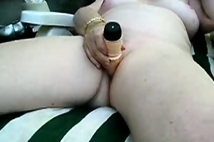 granny alice toying cum-hole in the garden