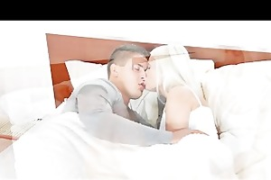 glamorous golden-haired wife wakes her husband up