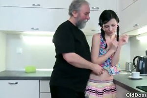 naughty brunette floozy acquires willing for trio