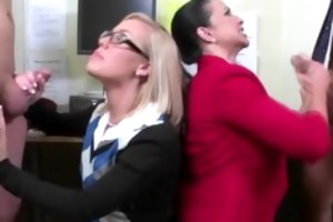 cfnm office ladies engulf employee penis after