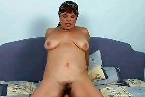 lusty hairy granny fucking with a chap