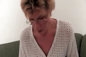 excited old blond woman acquires stripped on the