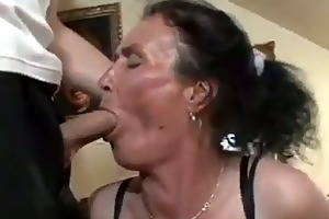 breasty brunette hair granny gets wicked vagina