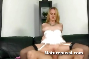 mature sexy blond fucks younger chap with a cock