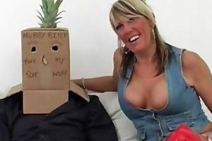 cuckolded bloke abased wearing a box
