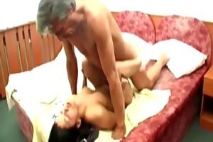 grand-dad cum spraying youthful playgirl
